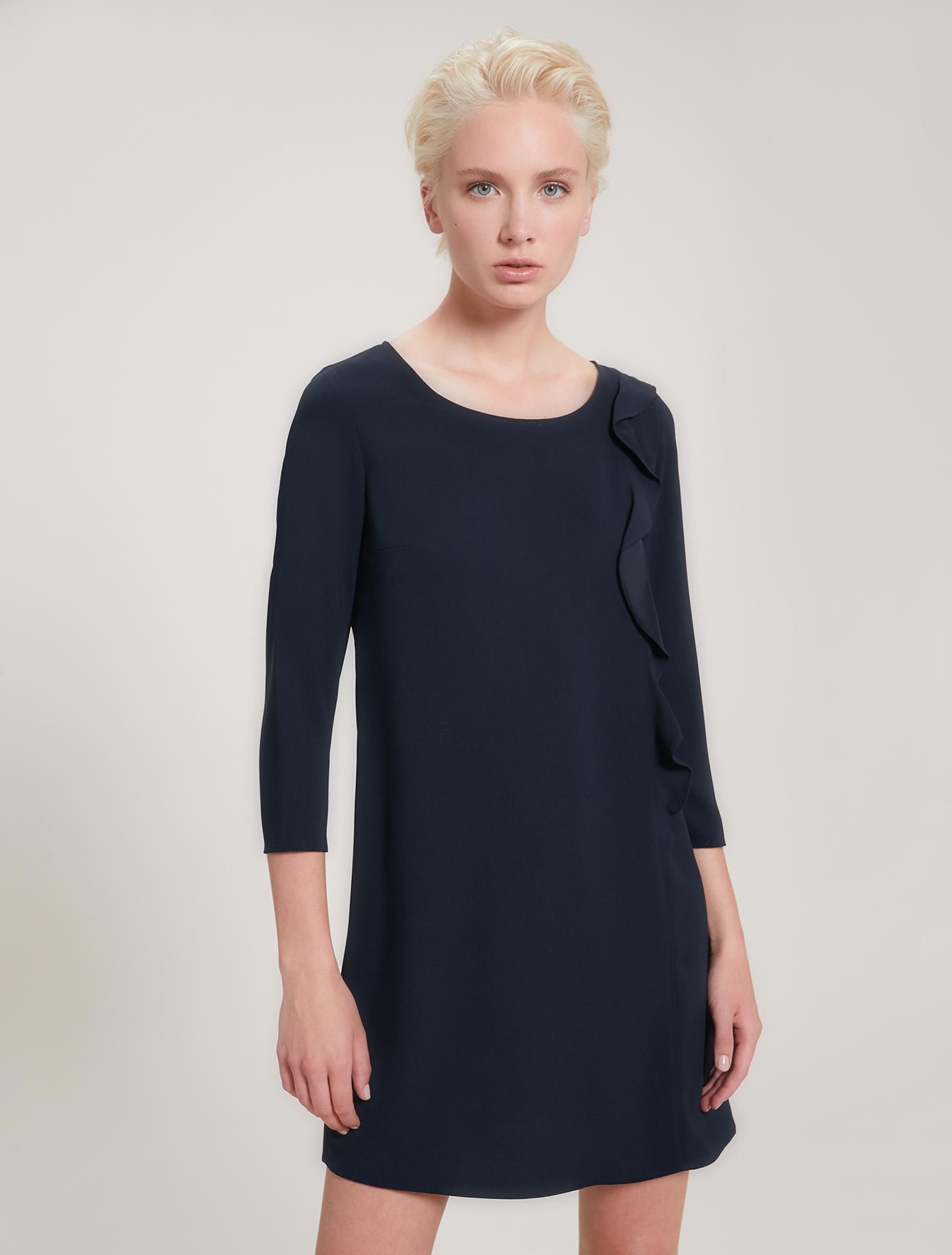 Envers satin dress with flounce - navy blue - pennyblack