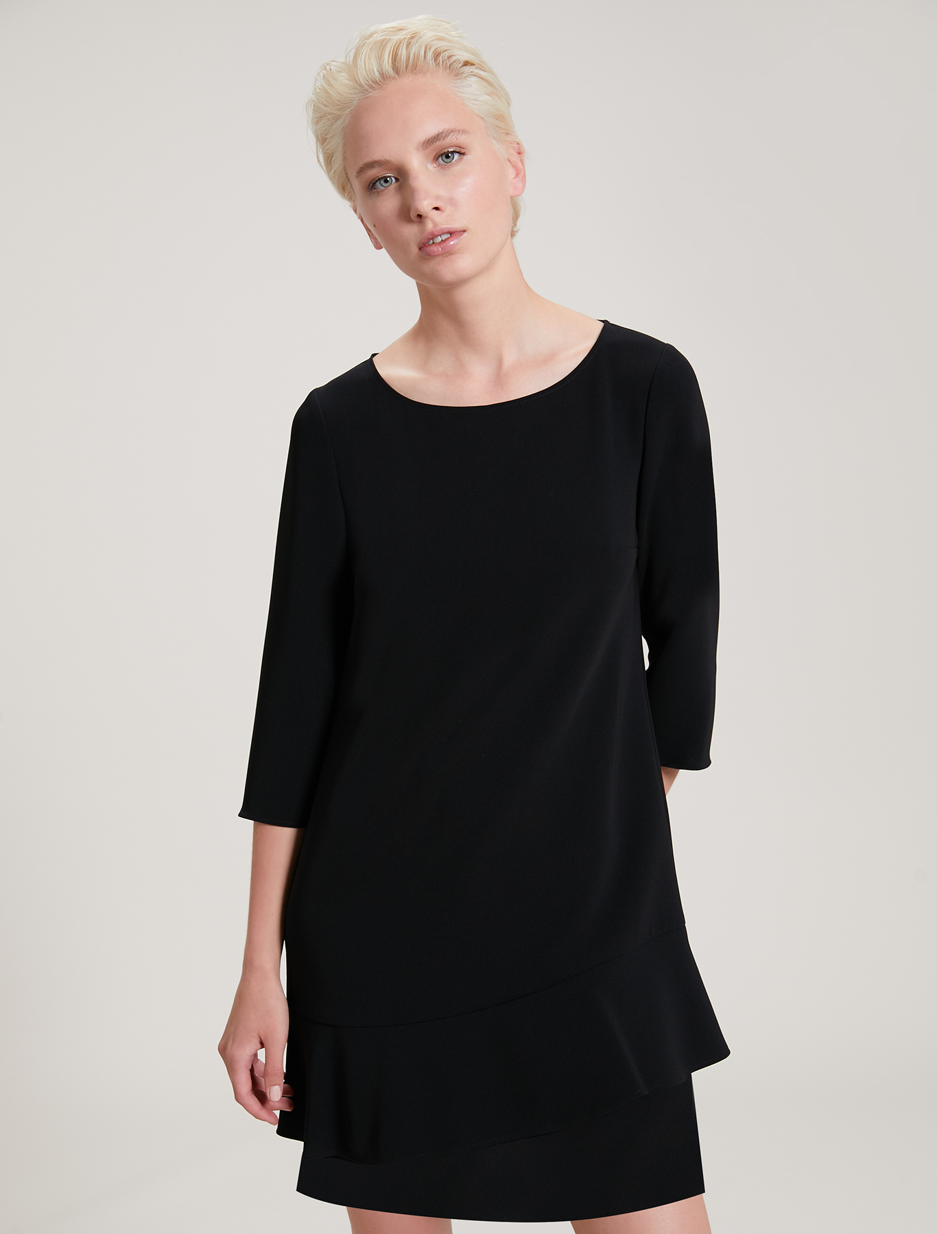 Asymmetric flounced dress - black - pennyblack