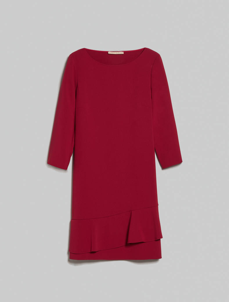 Asymmetric flounced dress - burgundy - pennyblack