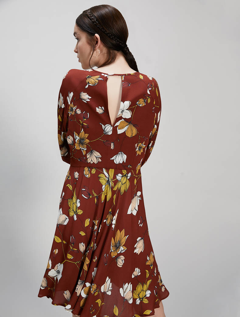 Floral crêpe de Chine dress - cocoa pattern - pennyblack