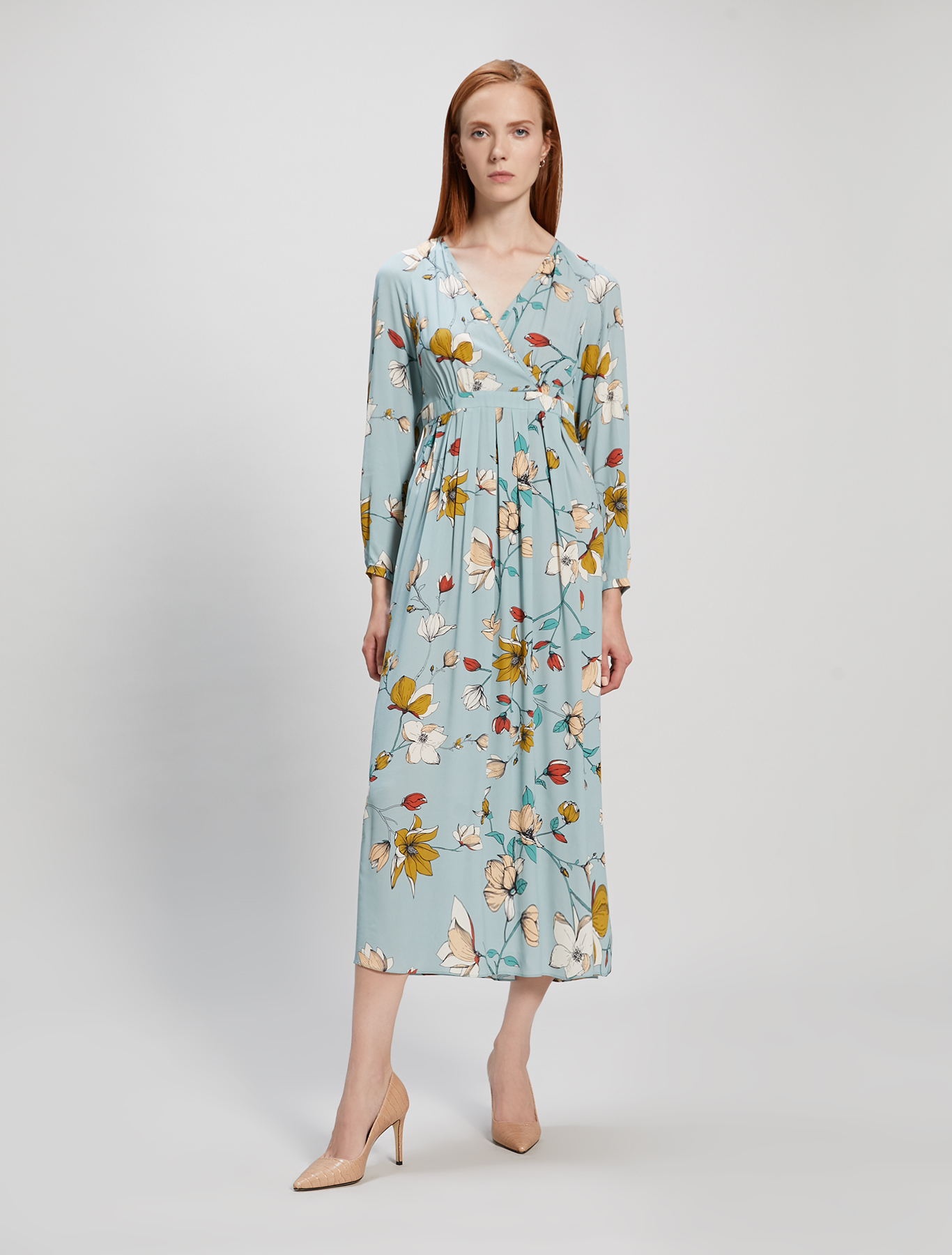 Floral crêpe de Chine dress - pastel green pattern - pennyblack