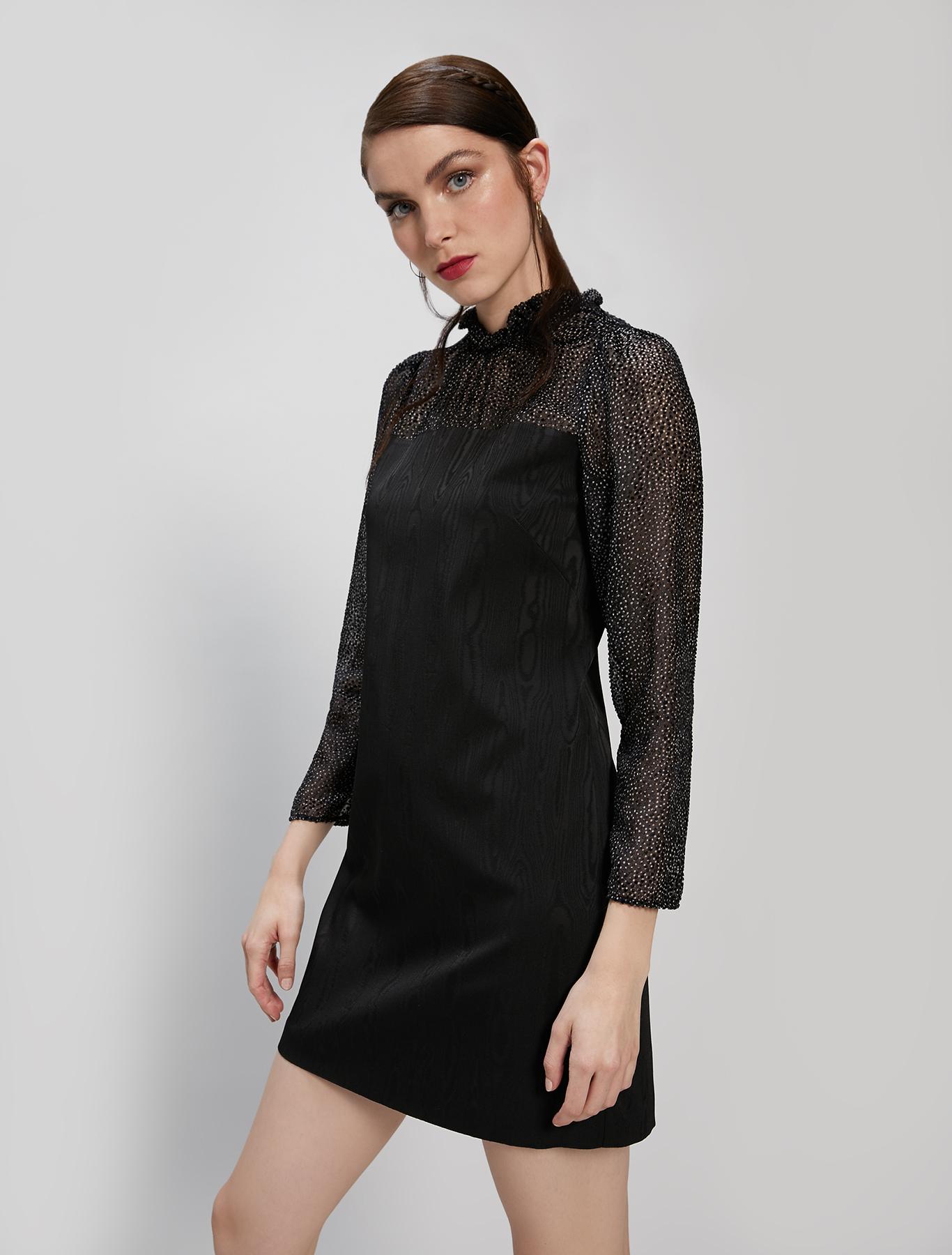 Moiré and georgette dress - black - pennyblack