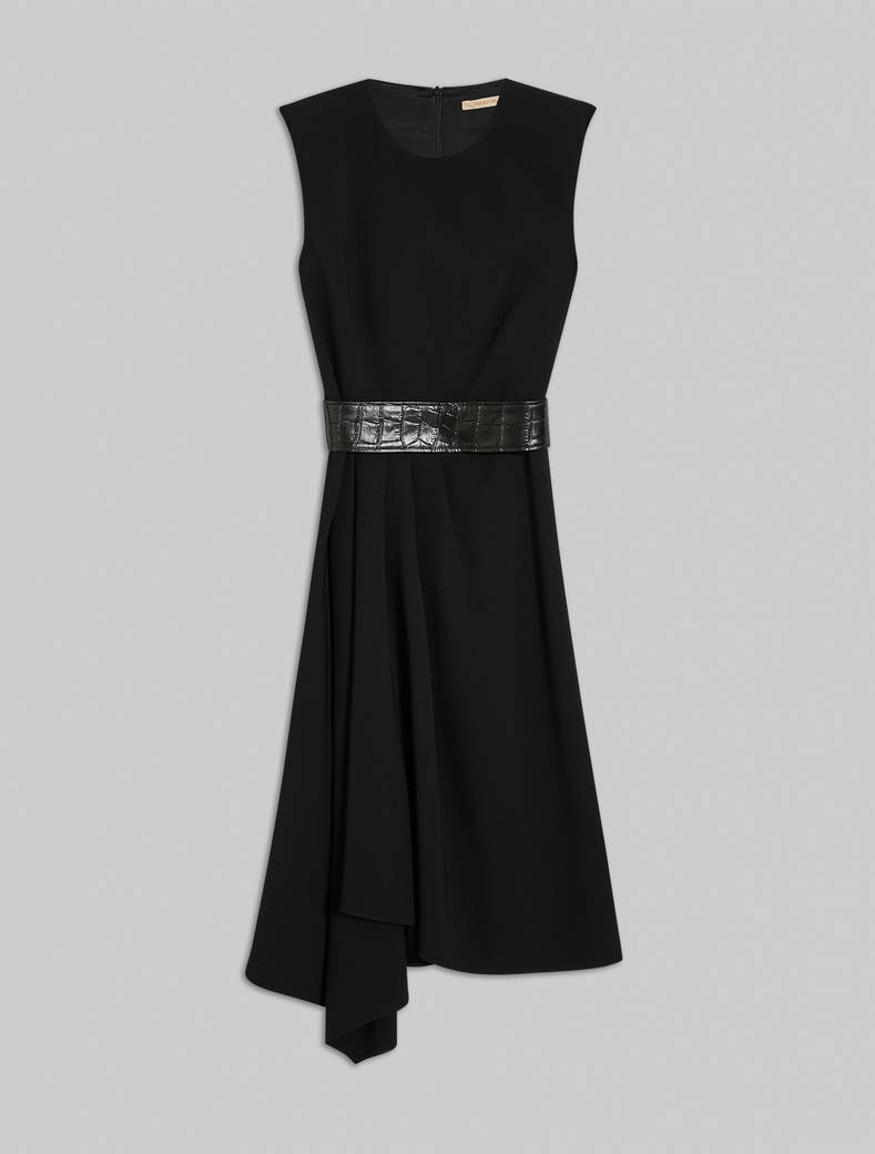 Asymmetric pleated dress - black - pennyblack