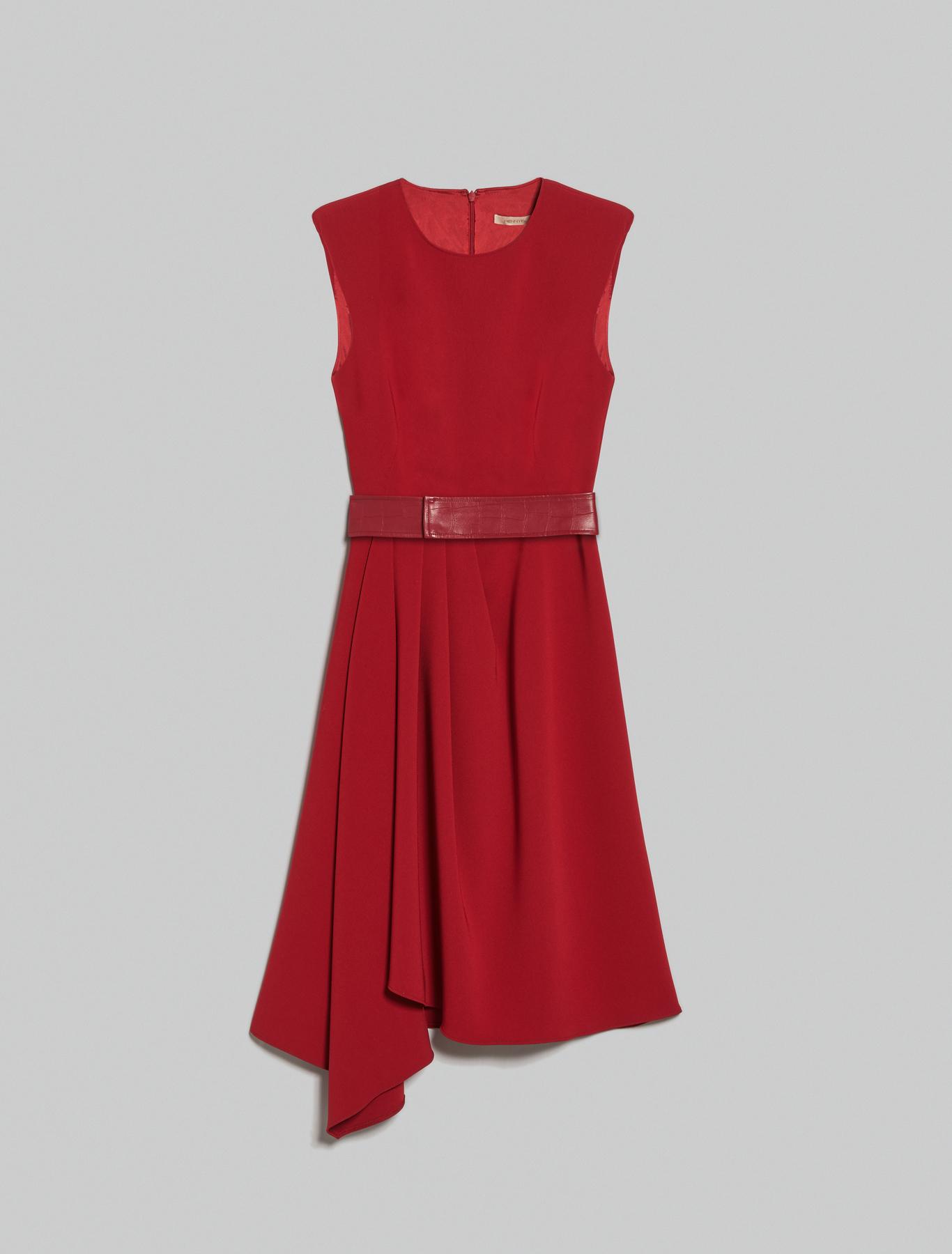 Asymmetric pleated dress - burgundy - pennyblack