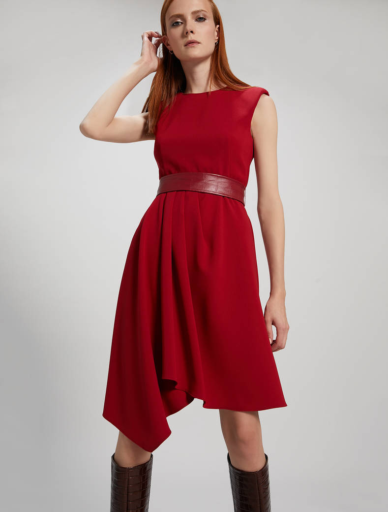 Asymmetric pleated dress - burgundy - pennyblack
