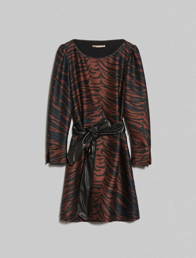 Tiger-striped twill dress - cocoa pattern - pennyblack