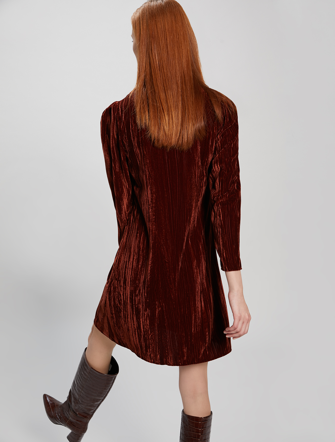 3D velvet dress - cocoa - pennyblack
