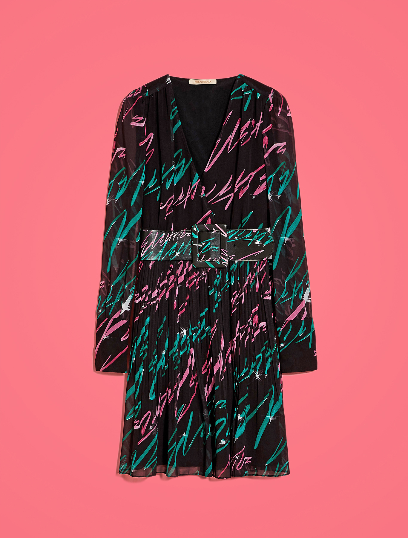 Electric Feel by Spiros Halaris Georgette dress - black pattern - pennyblack