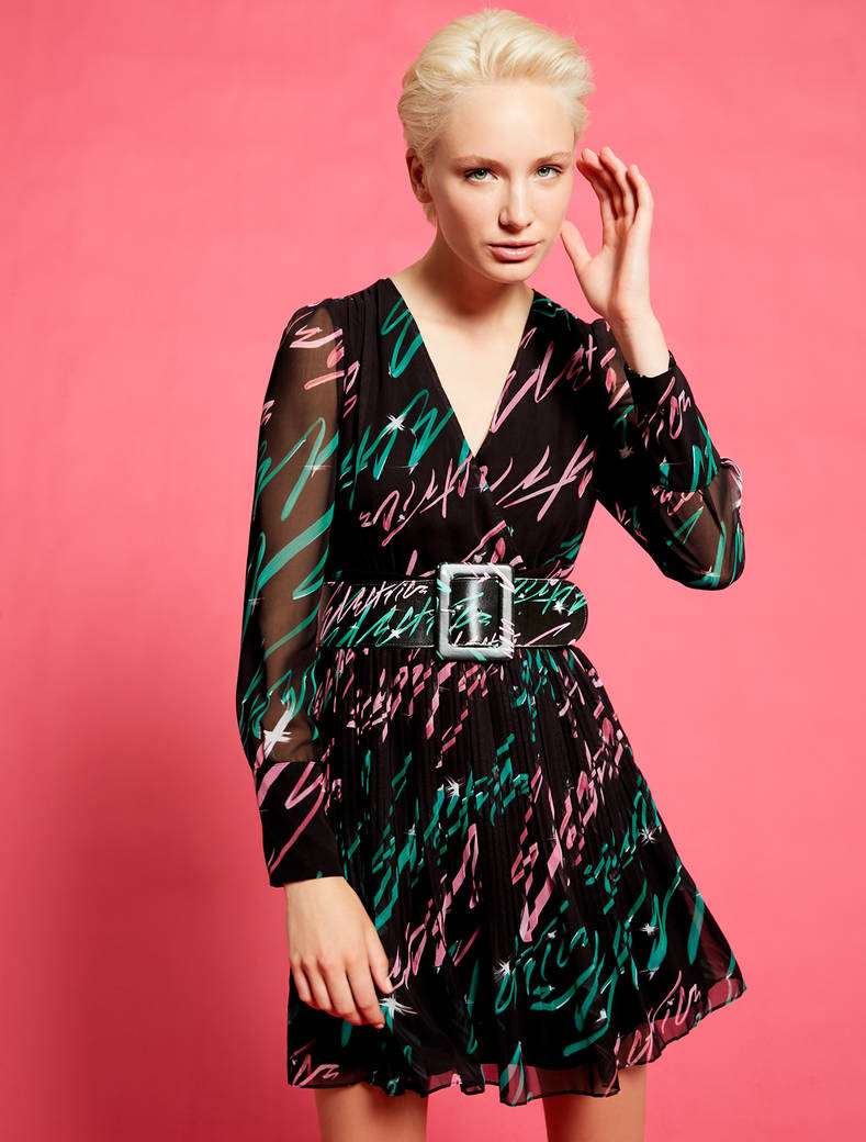 Electric Feel by Spiros Halaris Georgette dress - black pattern - pennyblack
