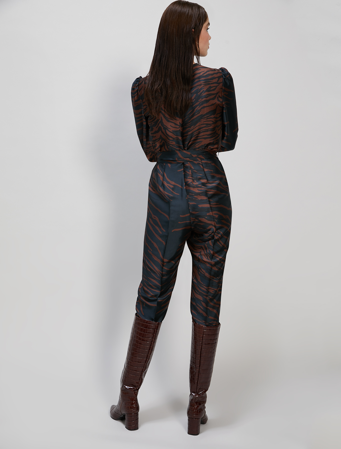 Printed twill jumpsuit - cocoa pattern - pennyblack