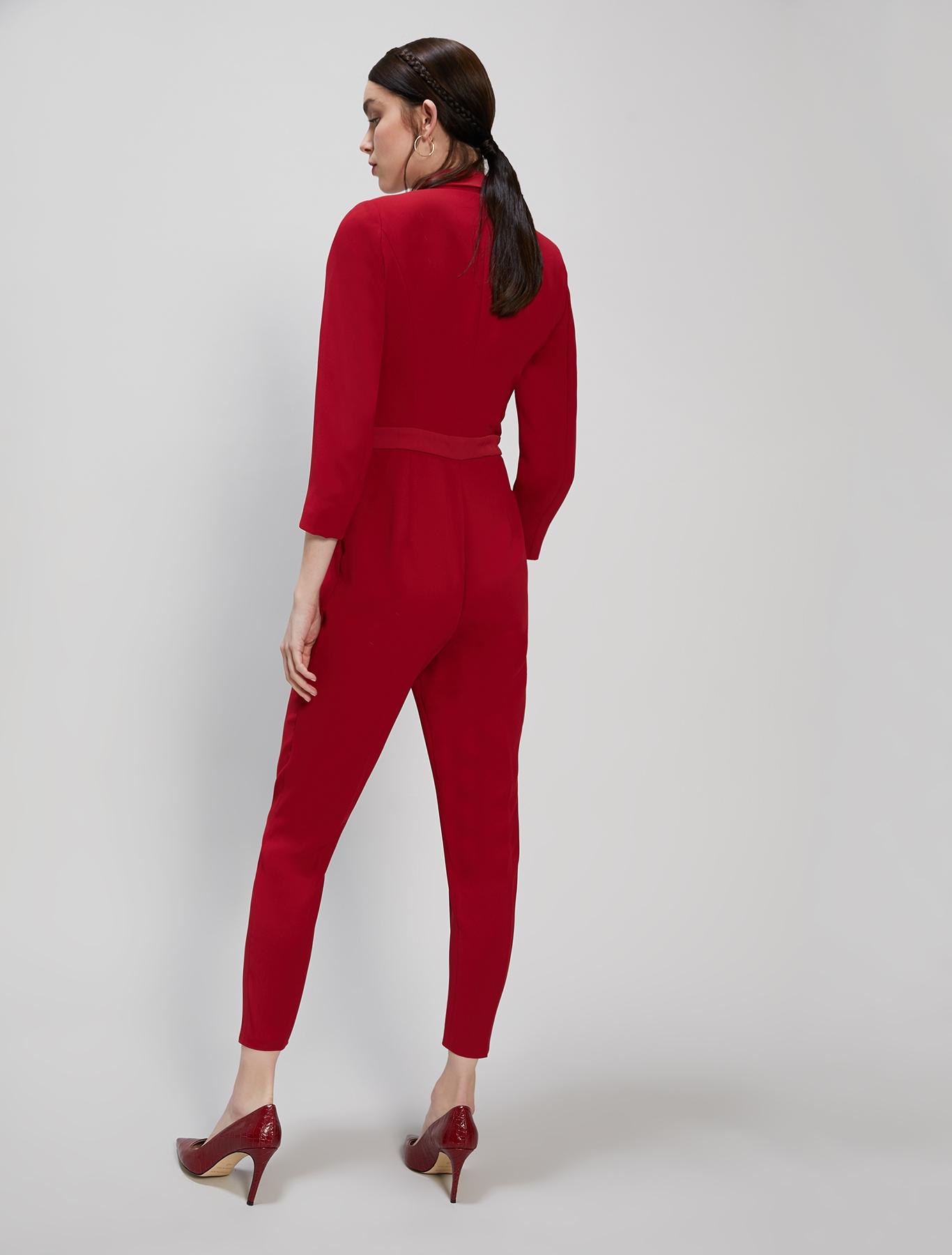 Envers satin jumpsuit - burgundy - pennyblack