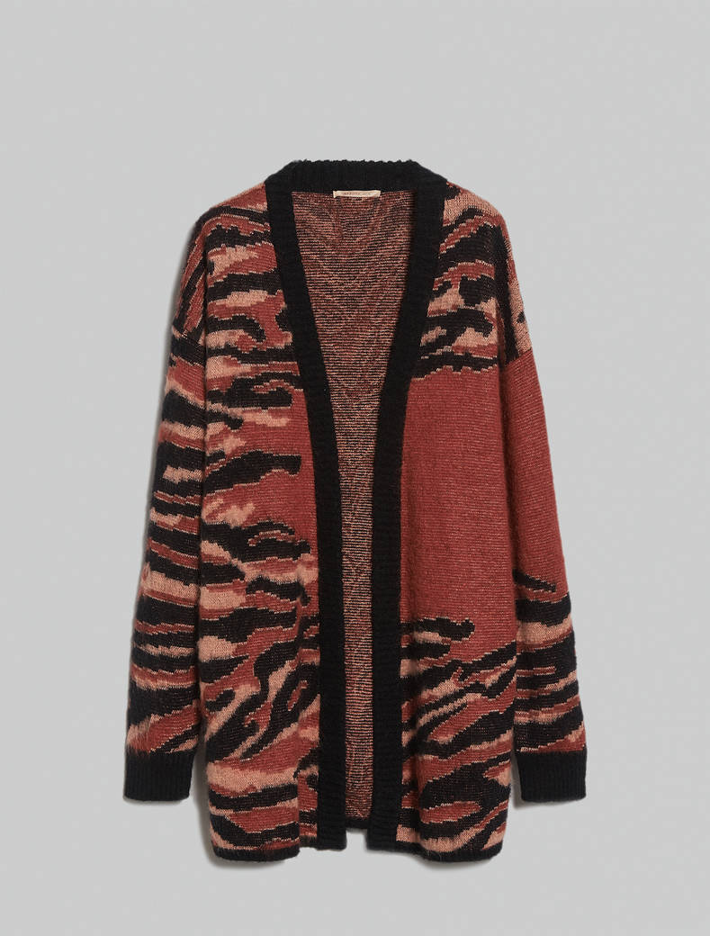 Tiger-striped jacquard cardigan - black - pennyblack
