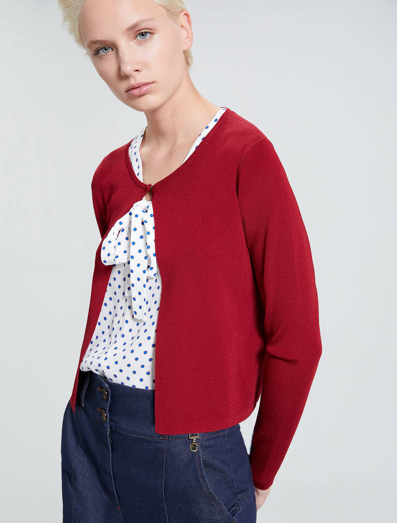Cardigan with bijou button - red - pennyblack