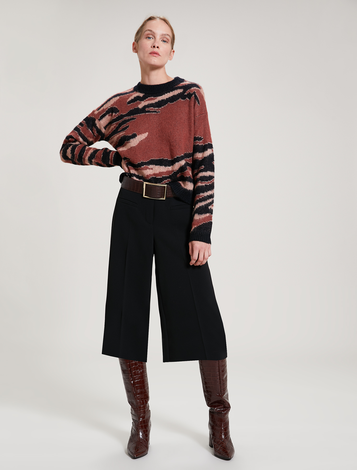 Tiger-striped jacquard jumper - black - pennyblack