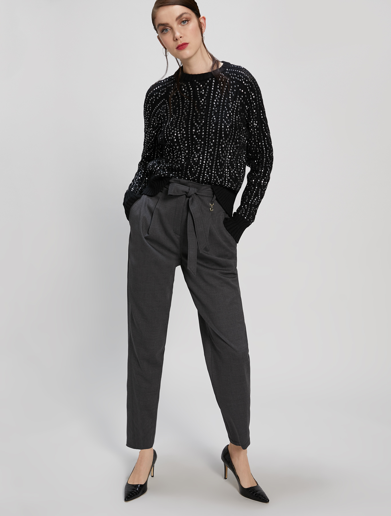 Studded cable knit jumper - black - pennyblack