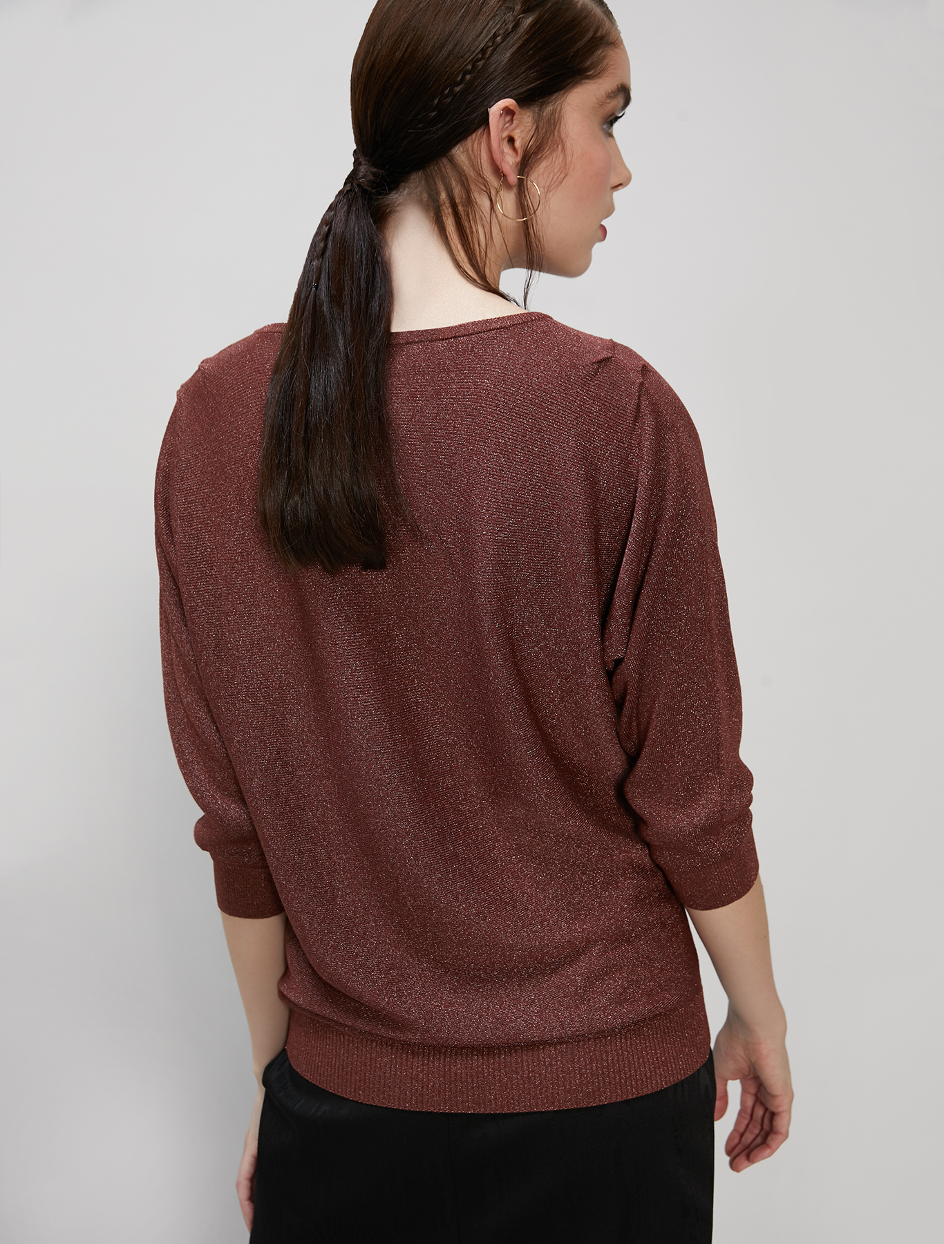 Lamé jumper with draped detailing - cocoa - pennyblack