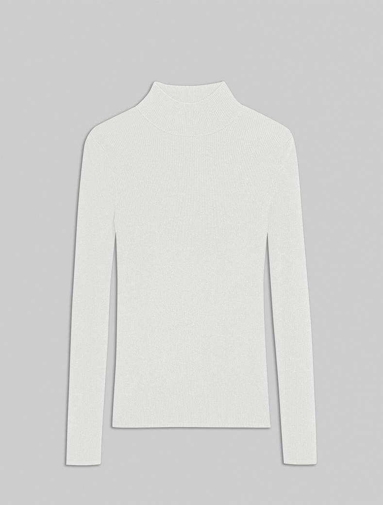Slim-fit ribbed polo neck - ivory - pennyblack