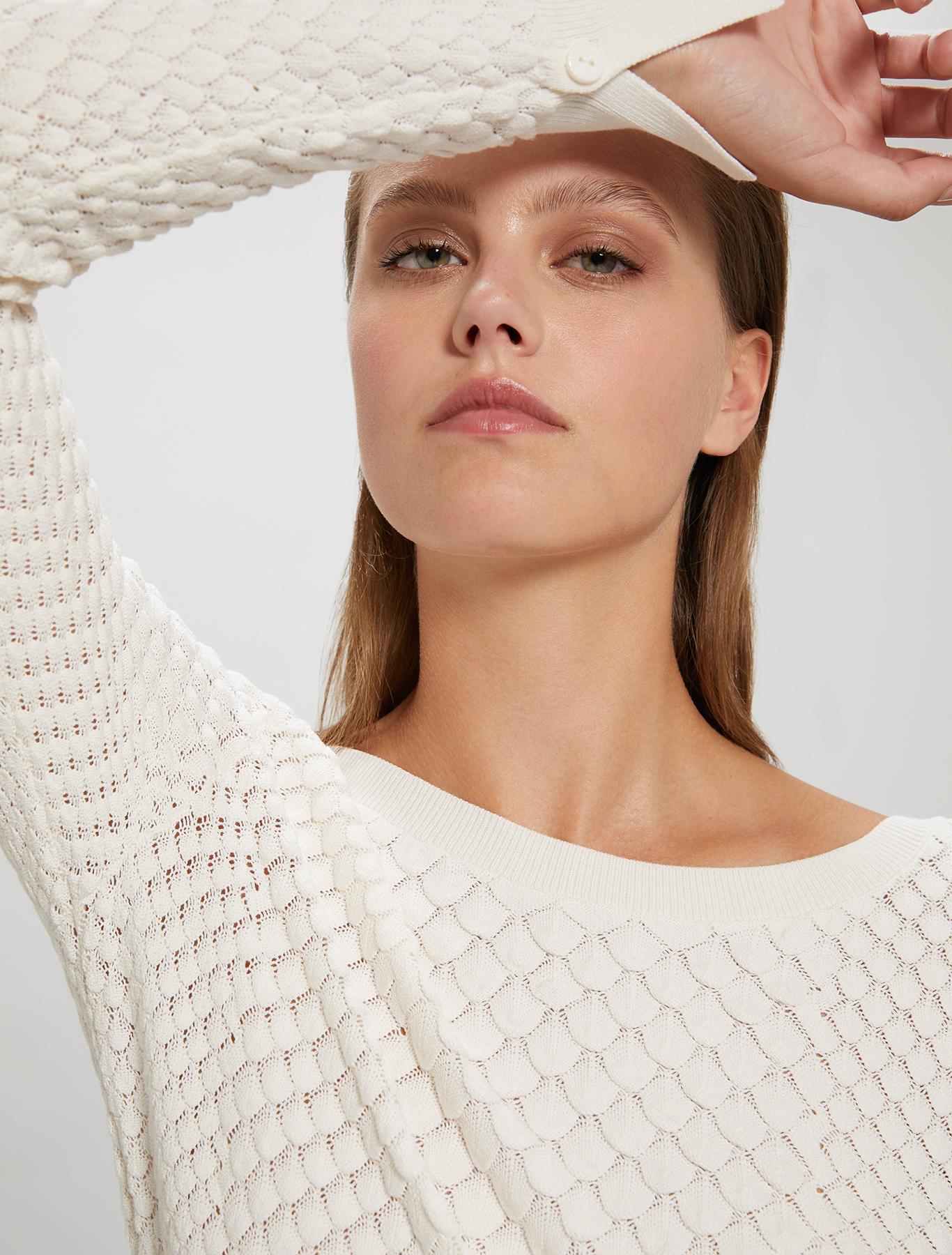 3D jacquard jumper - white - pennyblack