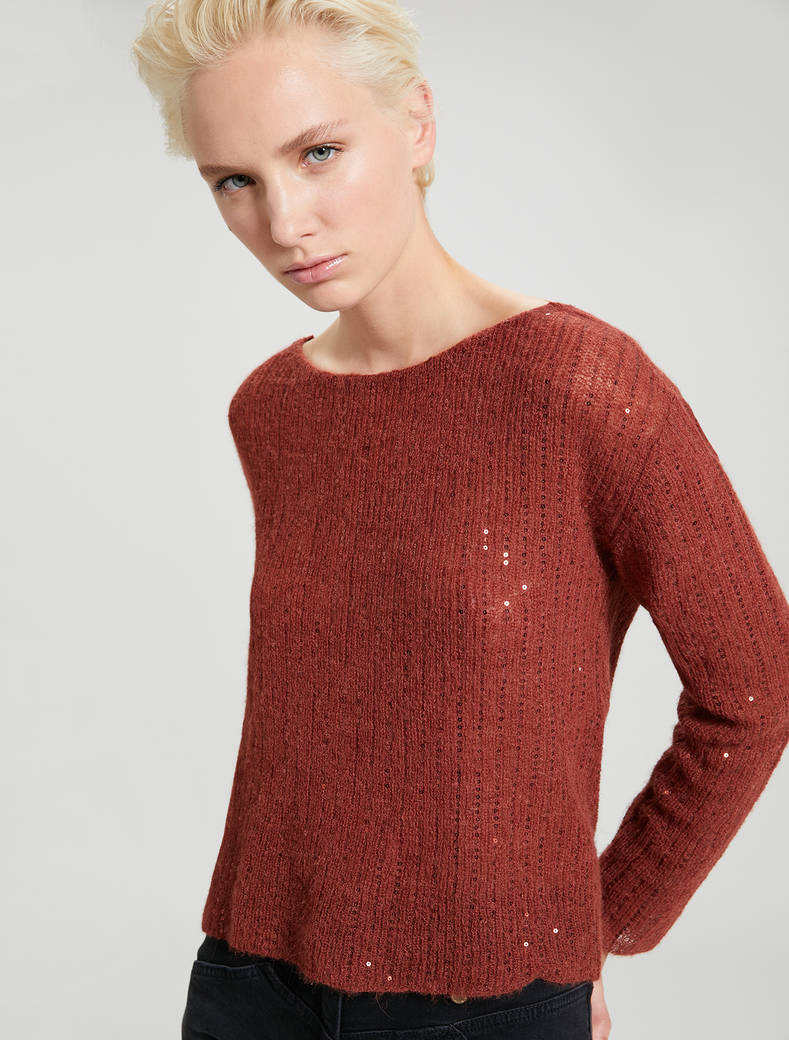 Alpaca jumper with sequins - cocoa - pennyblack