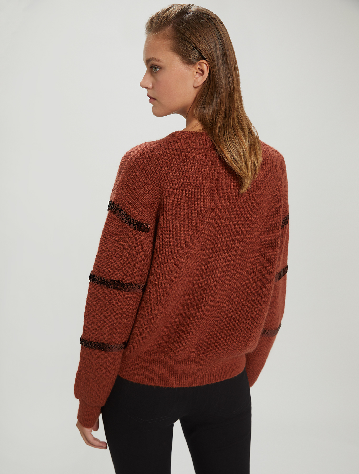 Jumper with sequin stripes - cocoa - pennyblack