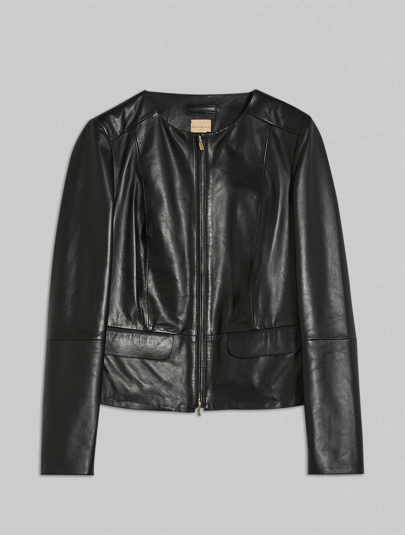 Slim nappa leather jacket - black - pennyblack