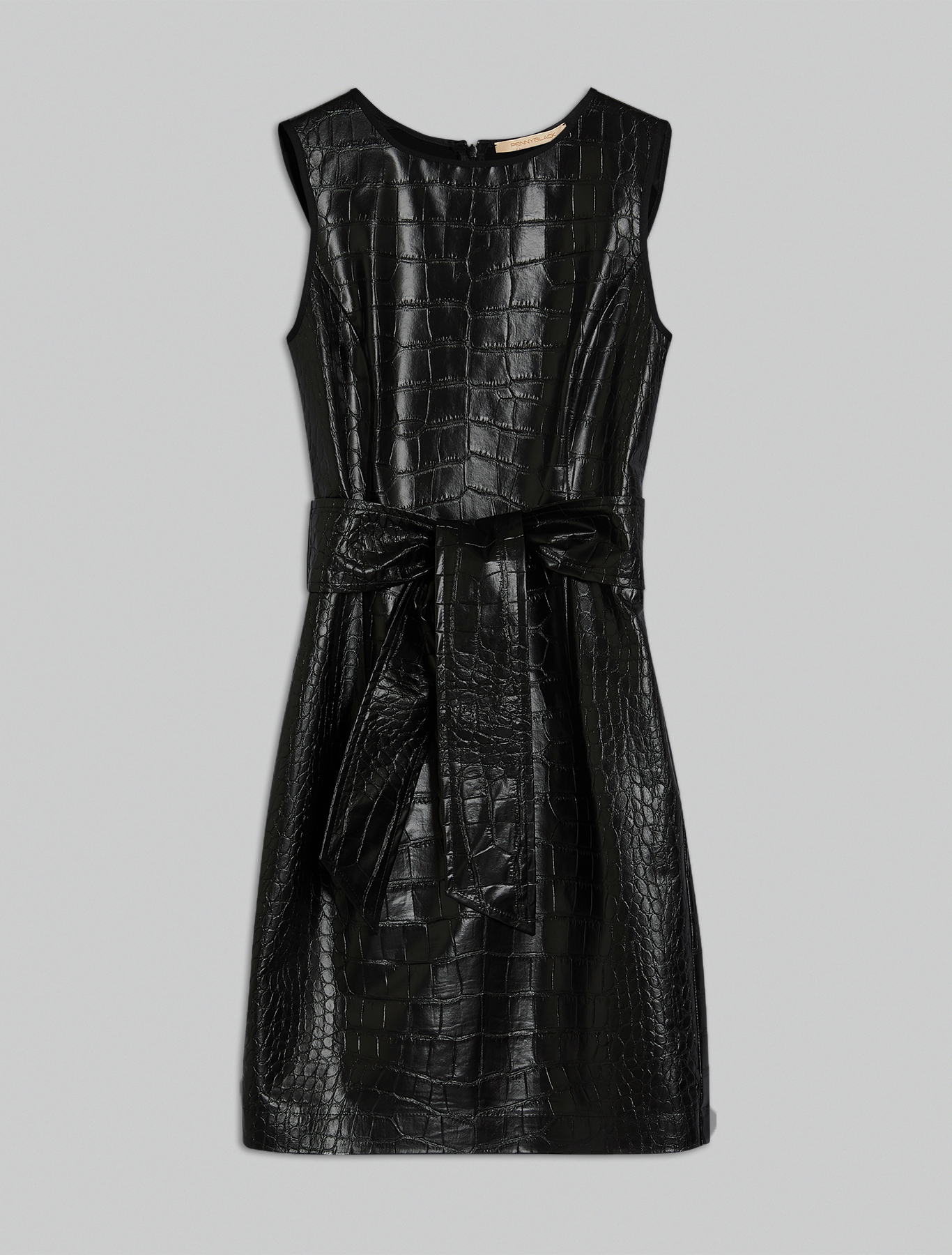 Sheath dress with croc texture - black - pennyblack