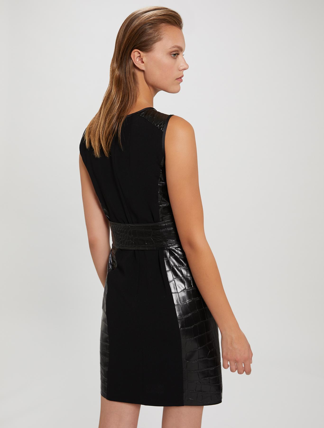 Sheath dress with croc texture - black - pennyblack