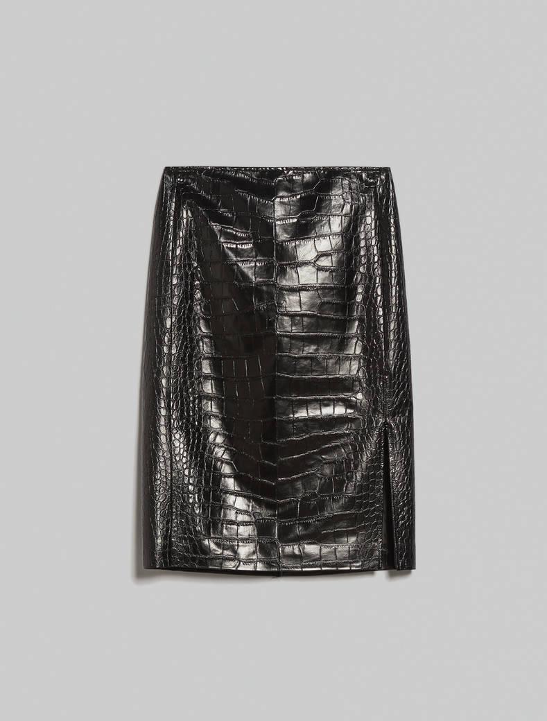 Croc-print skirt - black - pennyblack