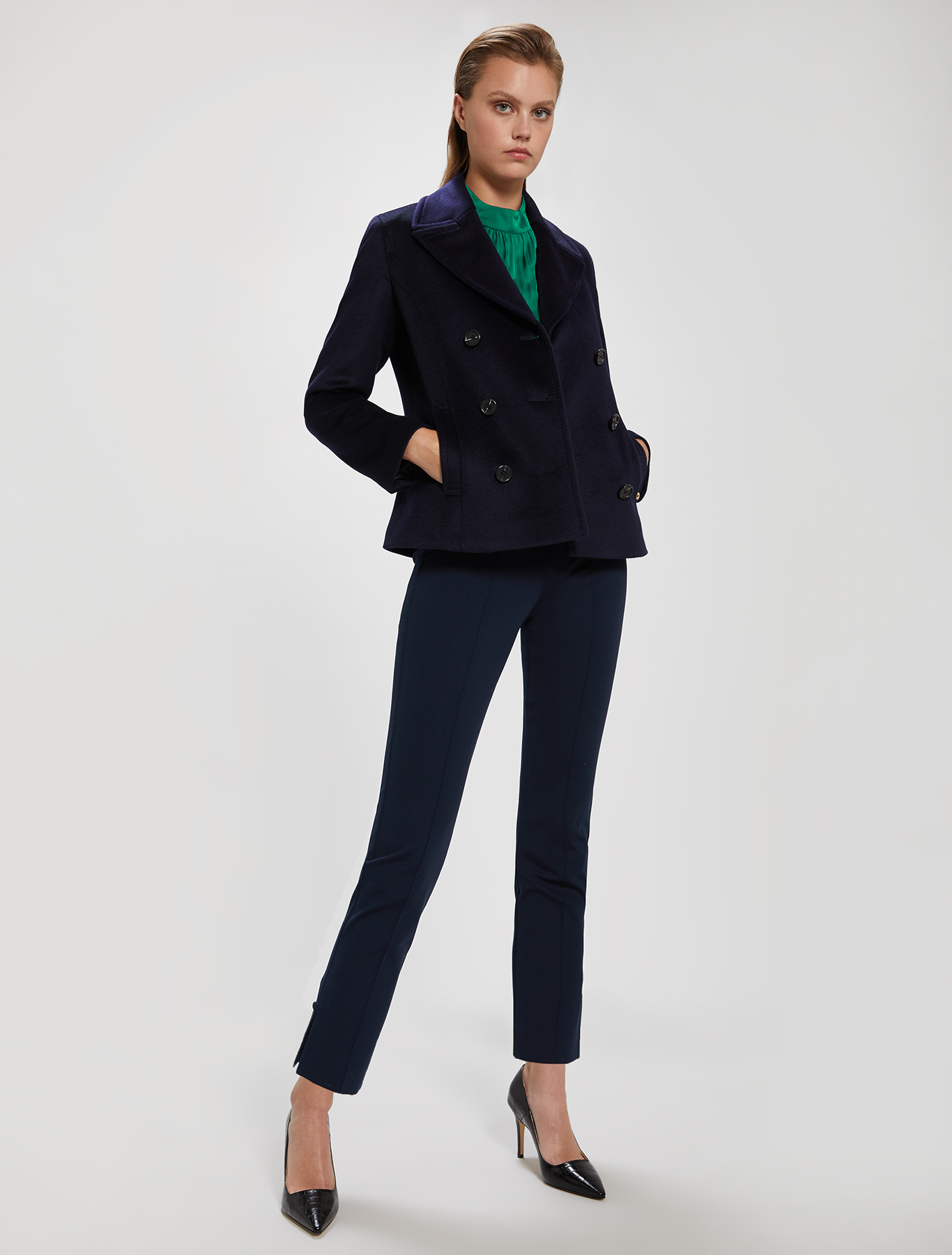 Skinny-fit jersey trousers - navy blue - pennyblack