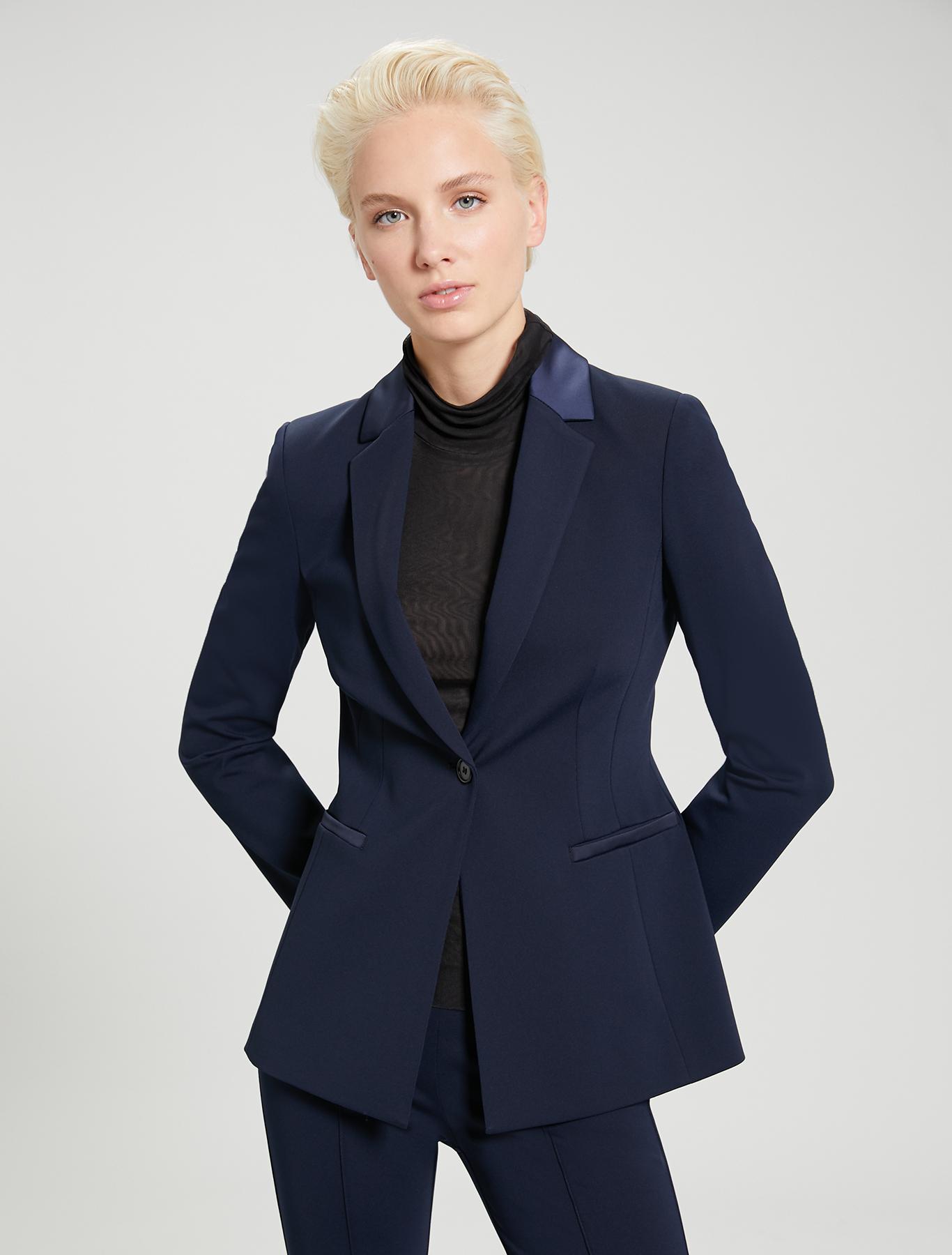Slim-fit jersey blazer - navy blue - pennyblack