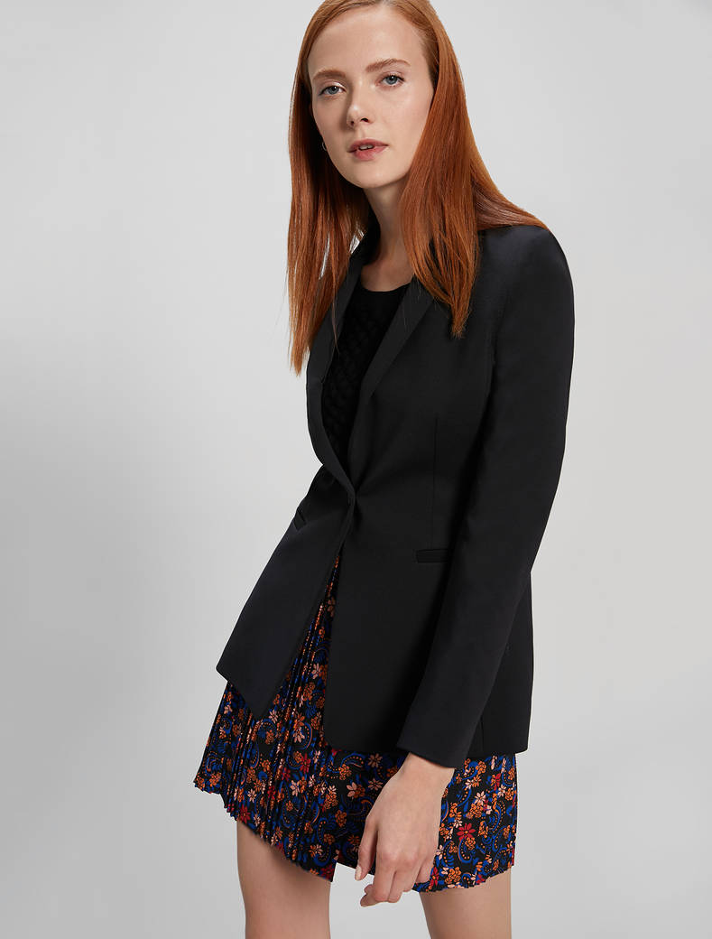 Slim-fit jersey blazer - black - pennyblack