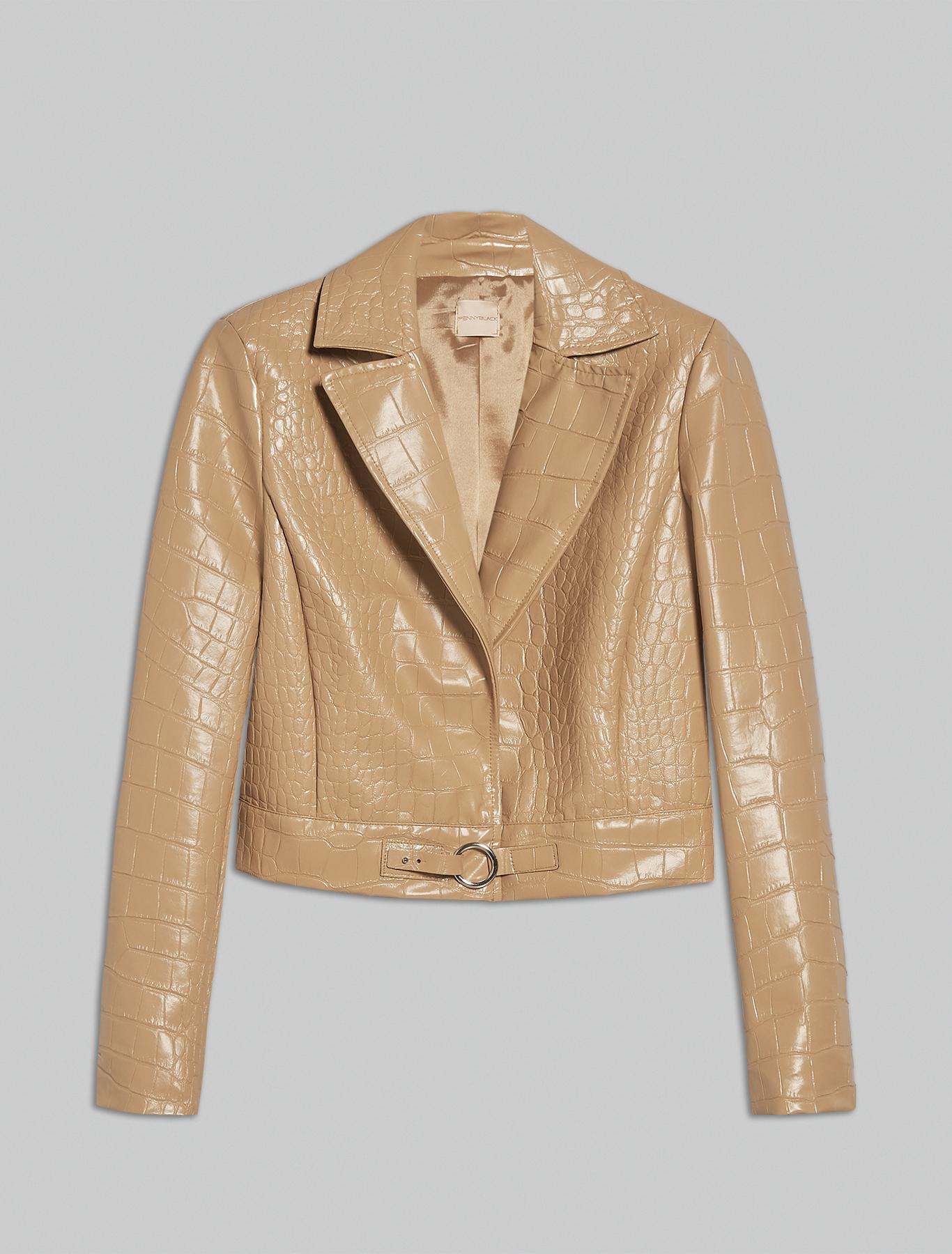 Croc-print jacket - camel - pennyblack