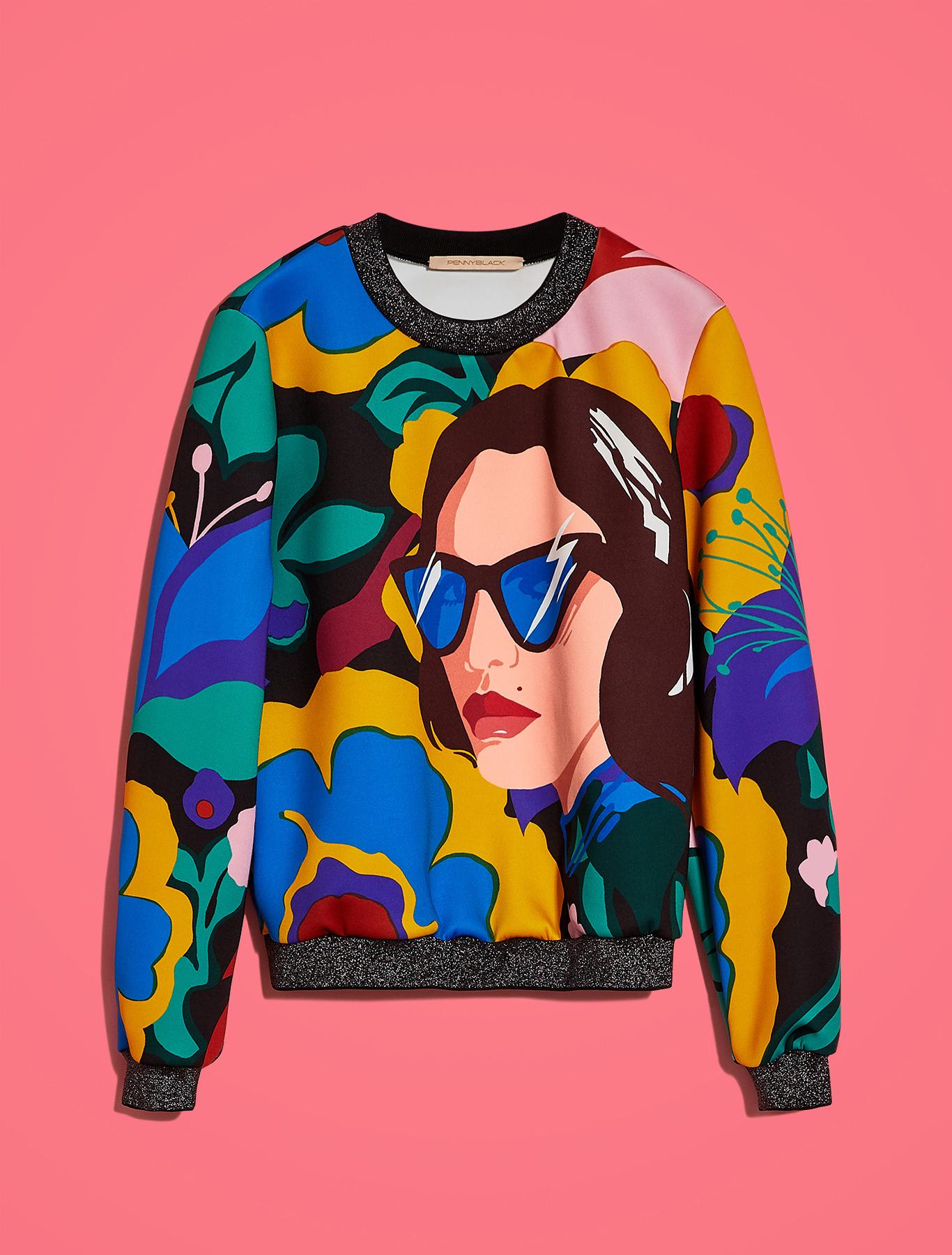 Electric Feel by Spiros Halaris printed sweatshirt - pale yellow pattern - pennyblack