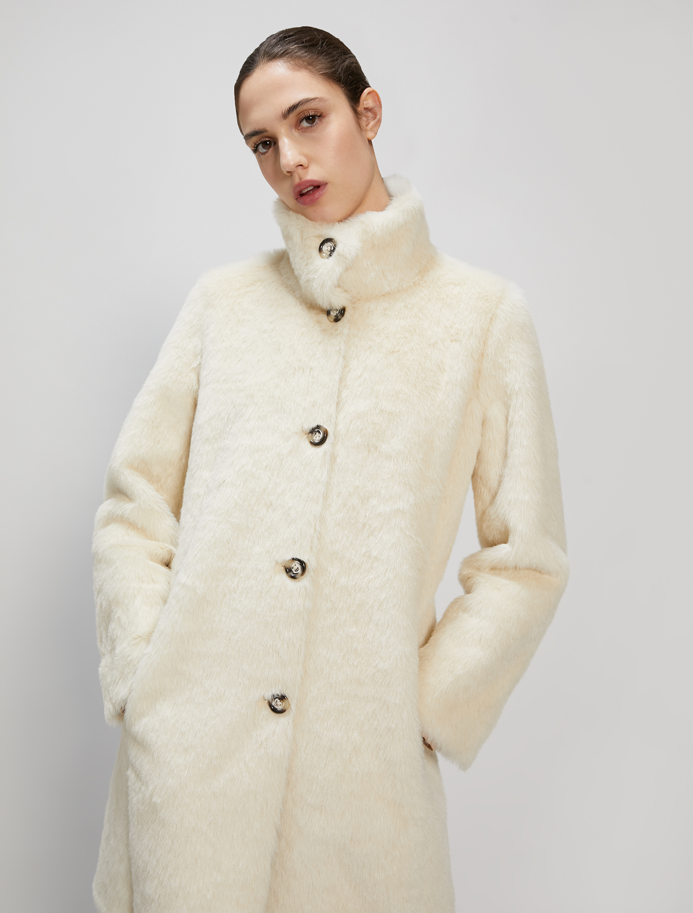 Reversible plush coat - ivory - pennyblack