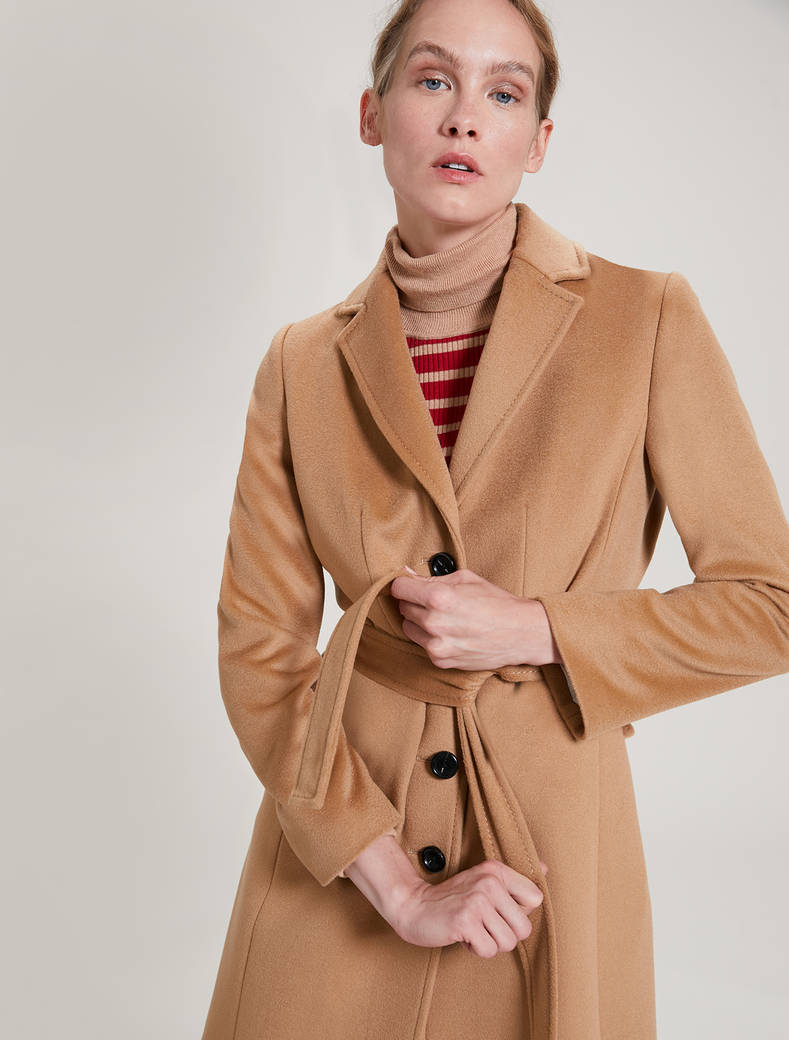 Wool velour coat - camel - pennyblack