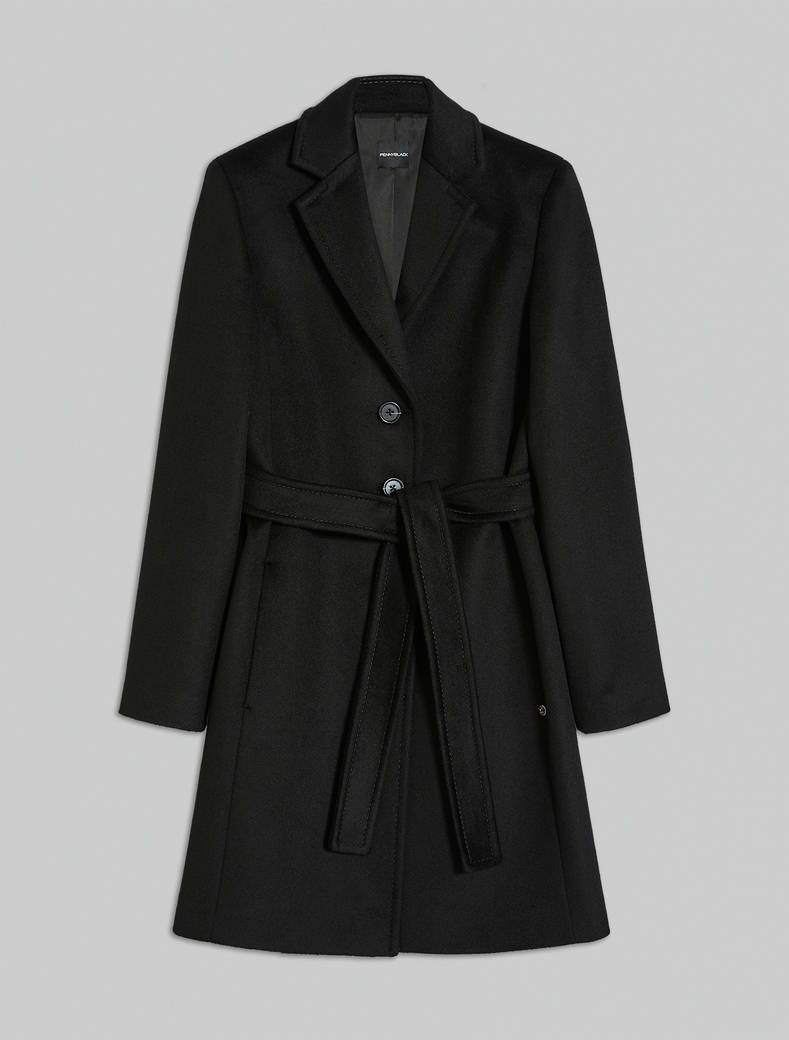 Wool velour coat - black - pennyblack