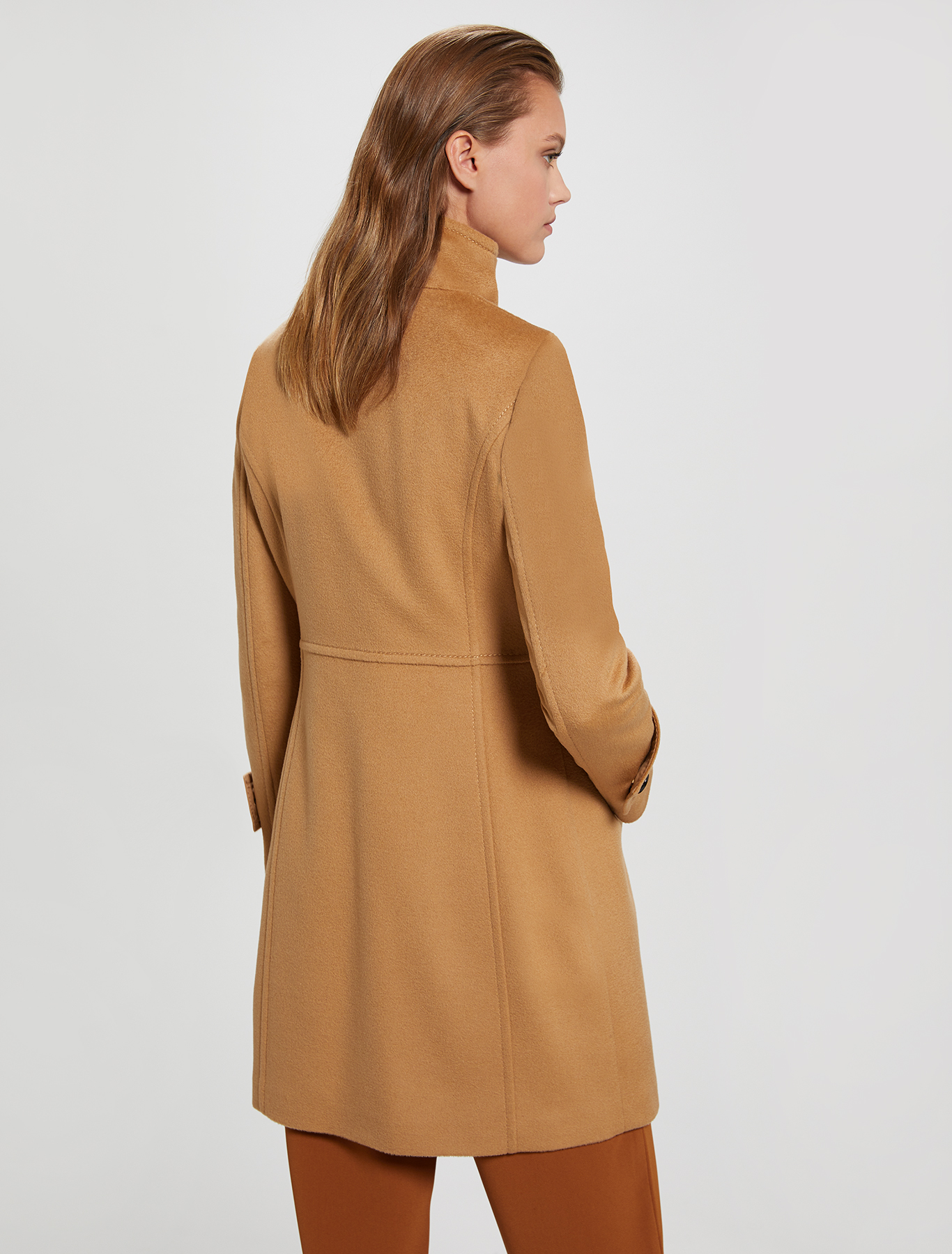 Slim-fit coat in wool velour - camel - pennyblack