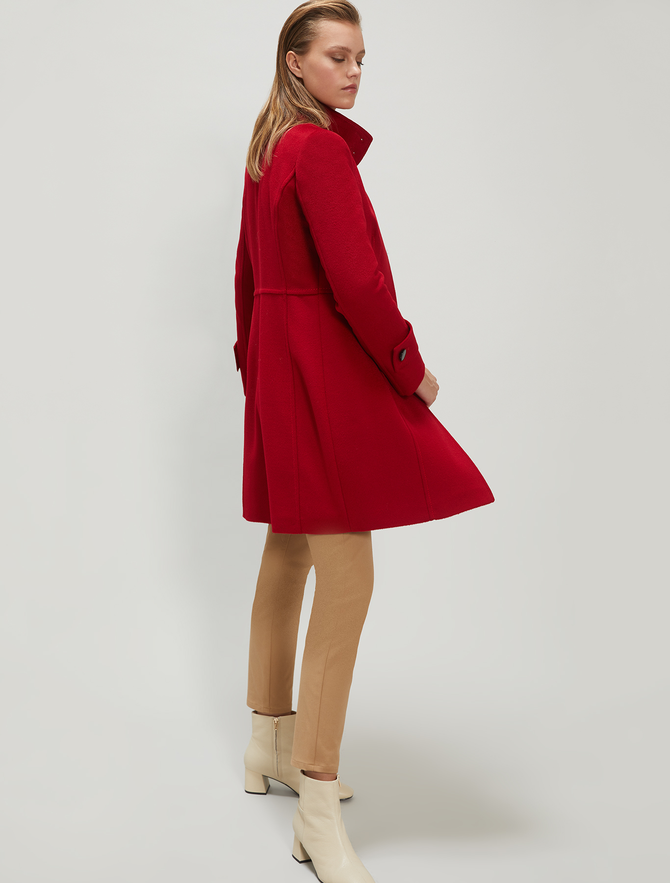 Slim-fit coat in wool velour - red - pennyblack