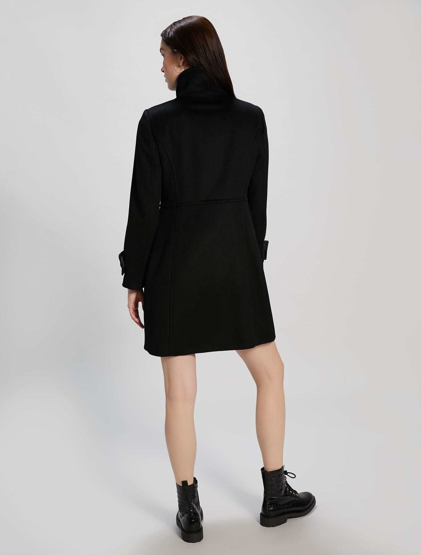 Slim-fit coat in wool velour - black - pennyblack