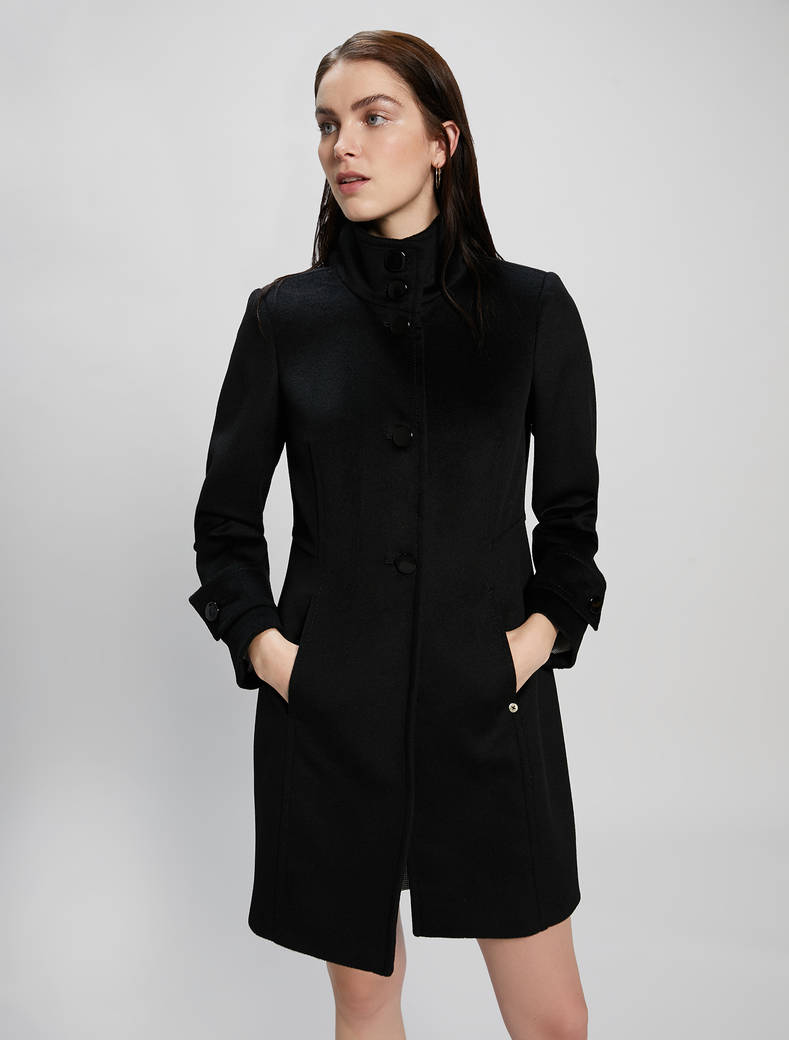 Cappotto slim in velour di lana - nero - pennyblack