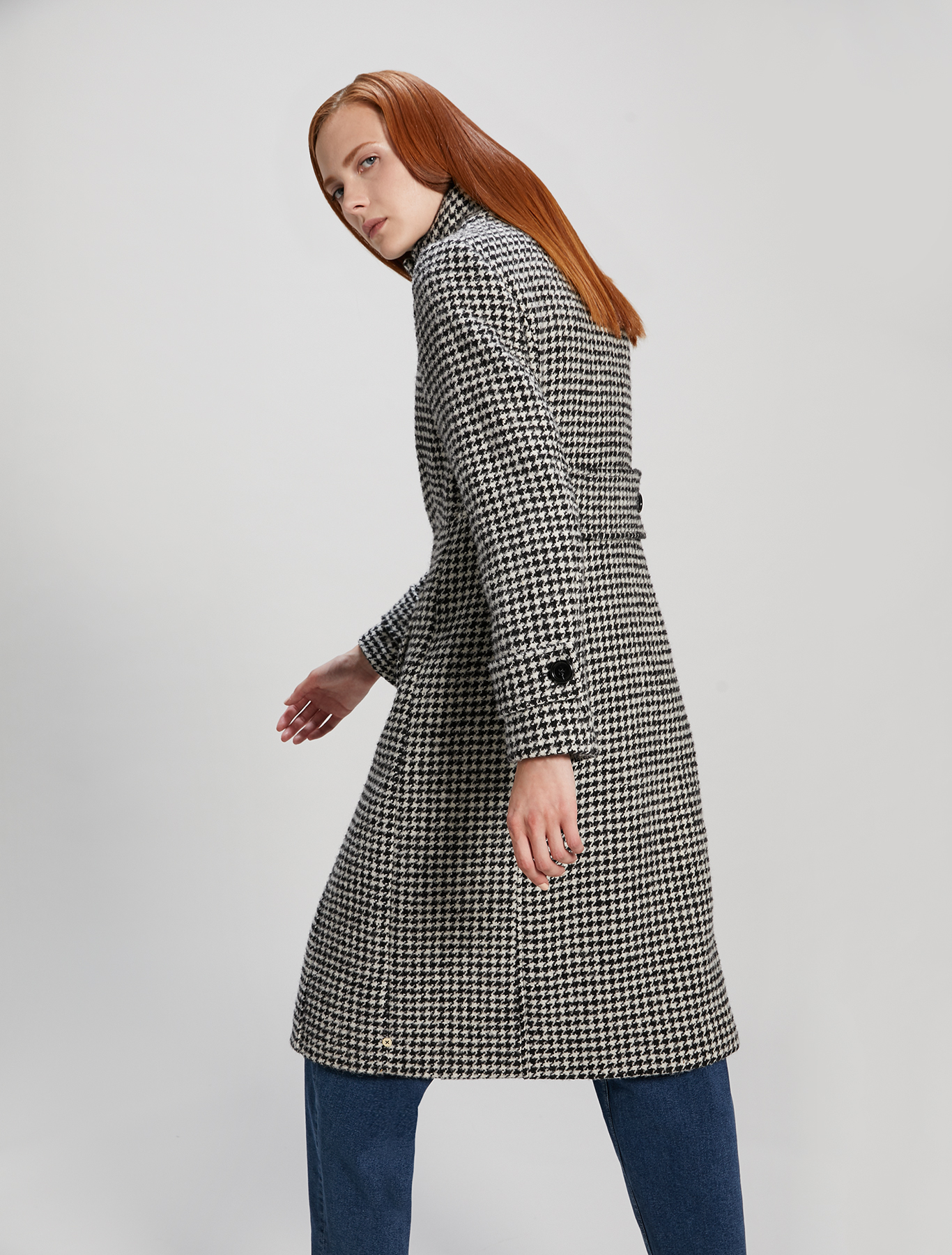 Houndstooth coat - white pattern - pennyblack