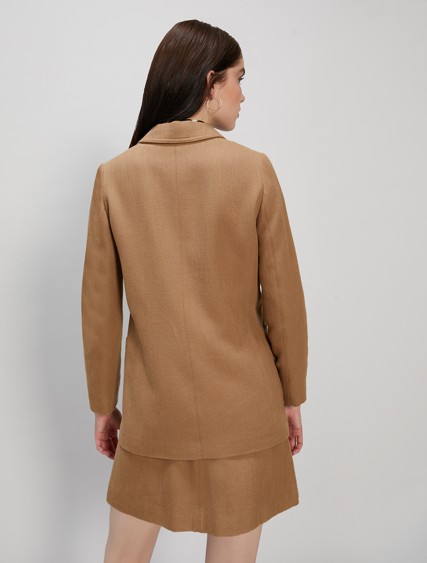 Basketweave blazer - camel - pennyblack