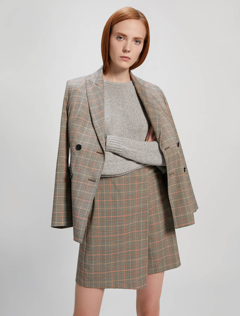Glen plaid check blazer - camel pattern - pennyblack