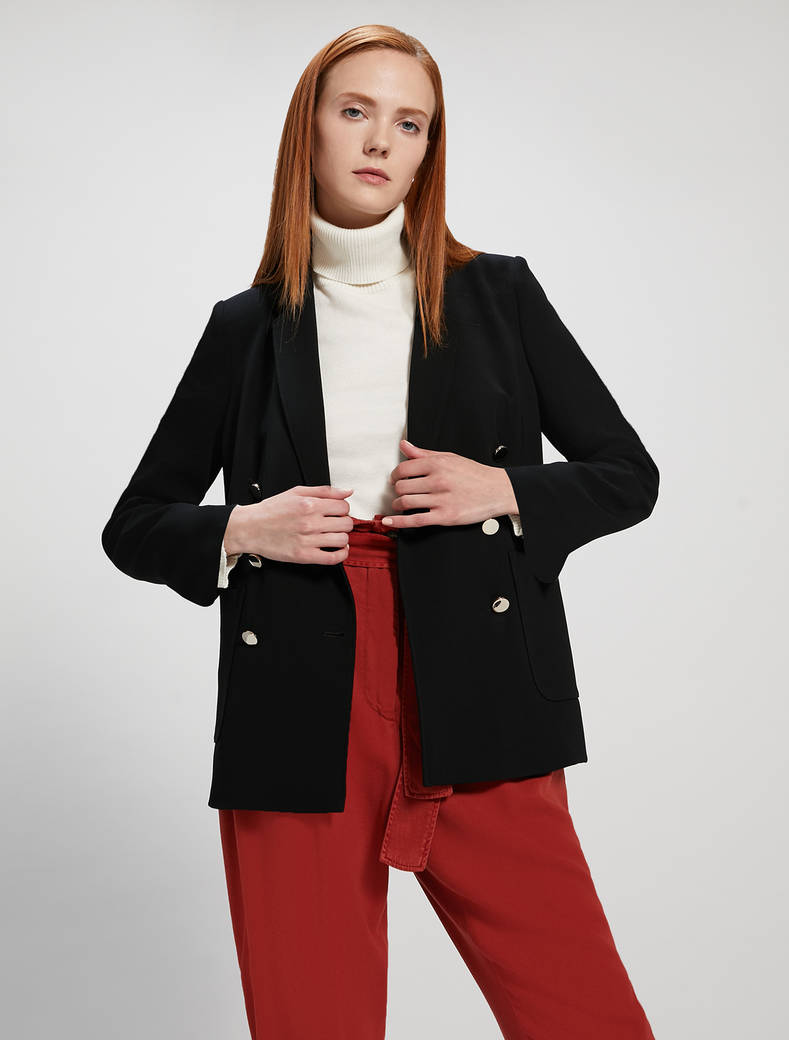 Flowing double-breasted blazer - black - pennyblack