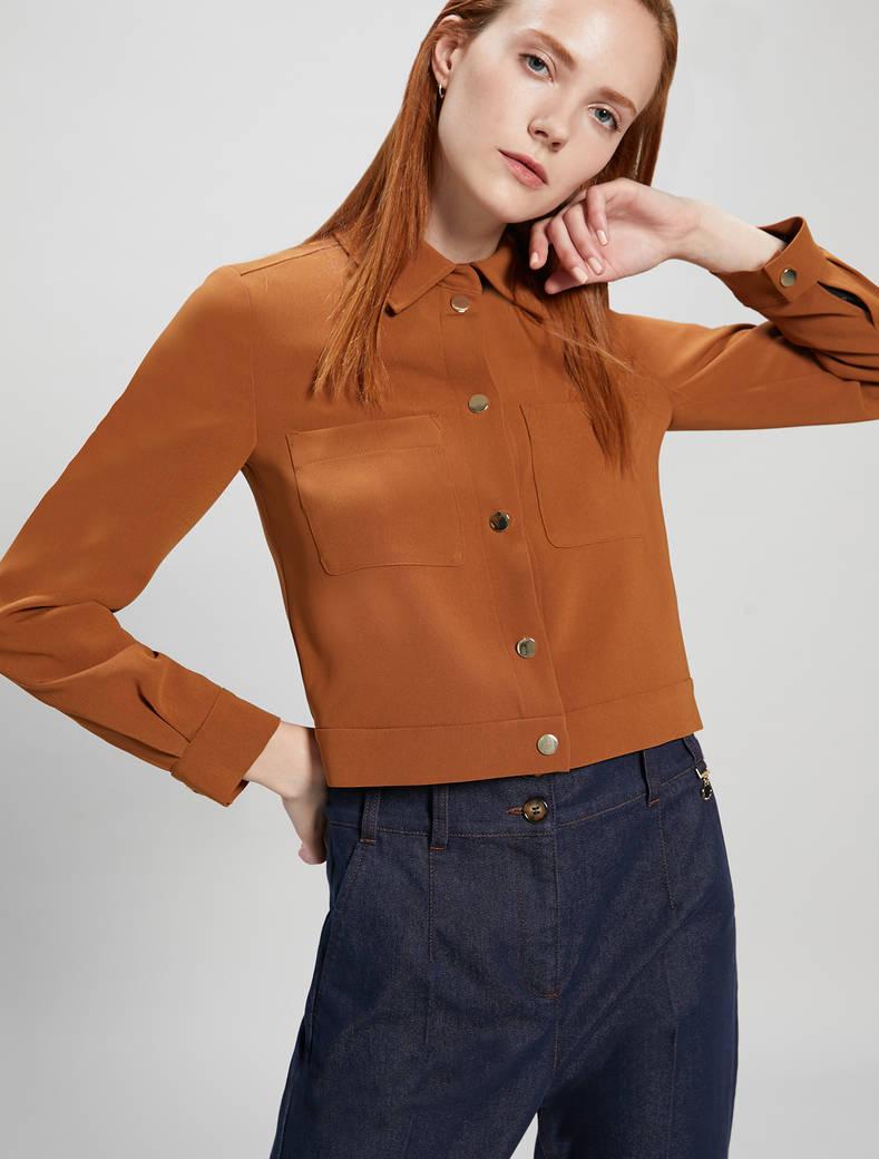 Jacket in flowing fabric - bronze - pennyblack