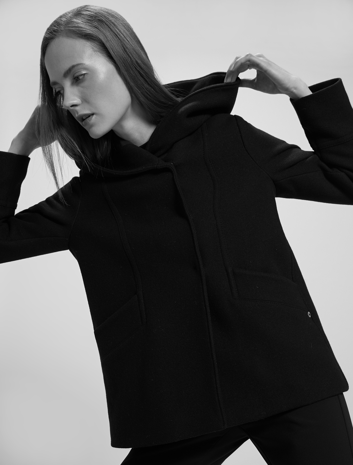 Cloth pea coat - black - pennyblack