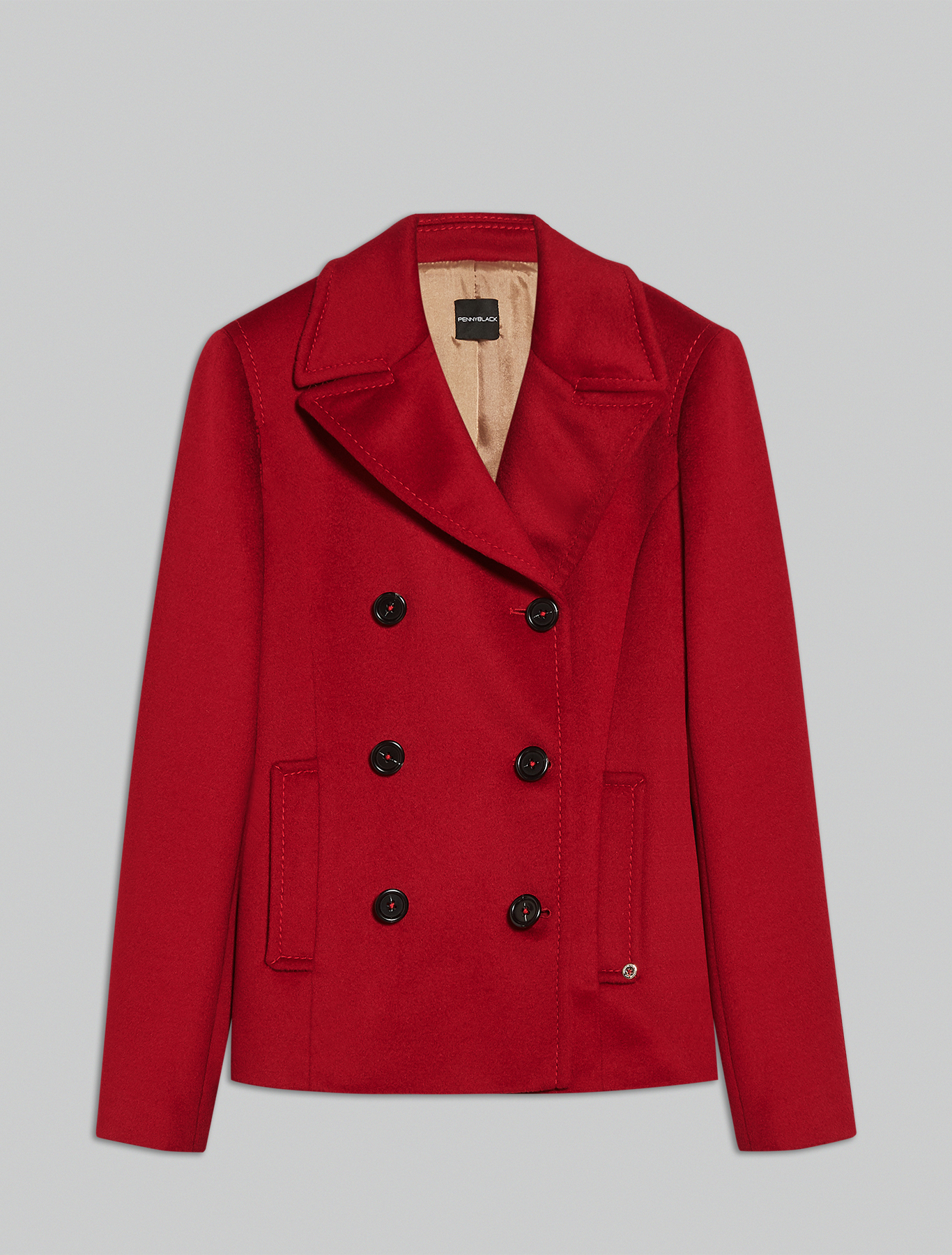 Wool velour pea coat - red - pennyblack