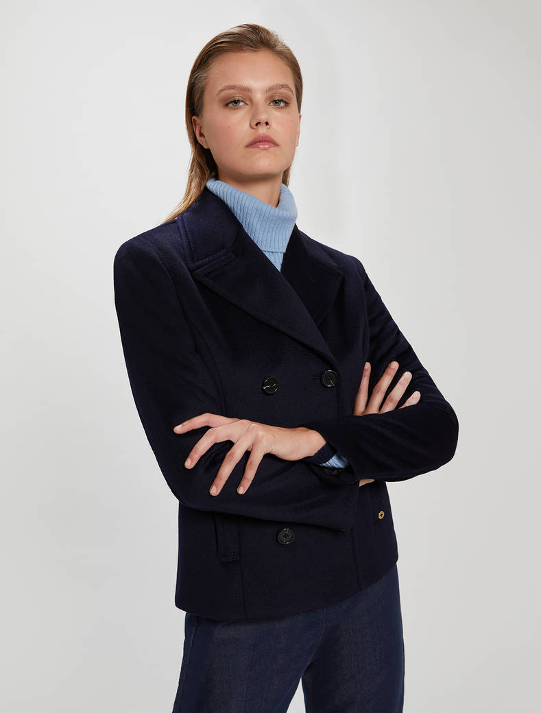 Wool velour pea coat - midnight blue - pennyblack