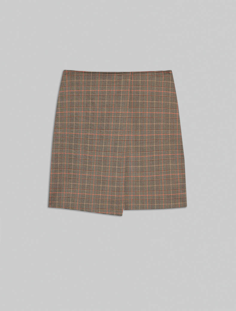 Glen plaid Bermuda skirt - camel pattern - pennyblack