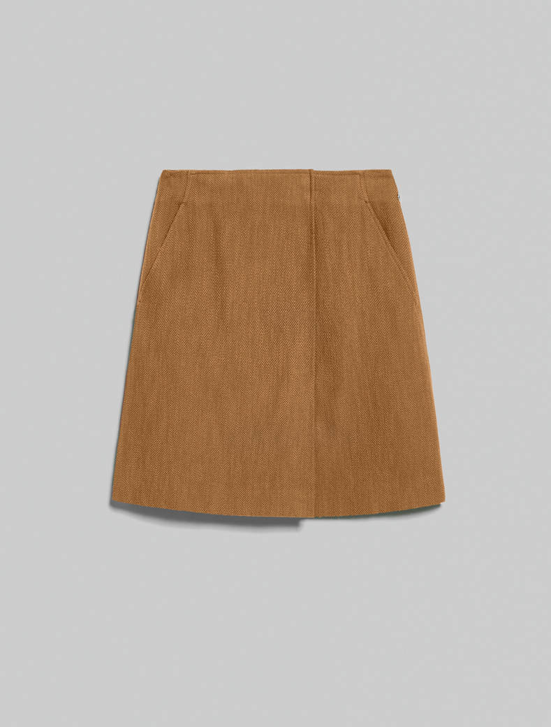 Basketweave skirt - camel - pennyblack
